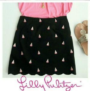 Lilly Pulitzer Nautical Scalloped Hem Skirt.